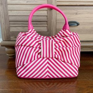 Kate Spade Bow Bag striped canvas pink white